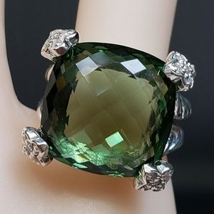 David Yurman SS Cushion On Point Prasiolite Ring 5
